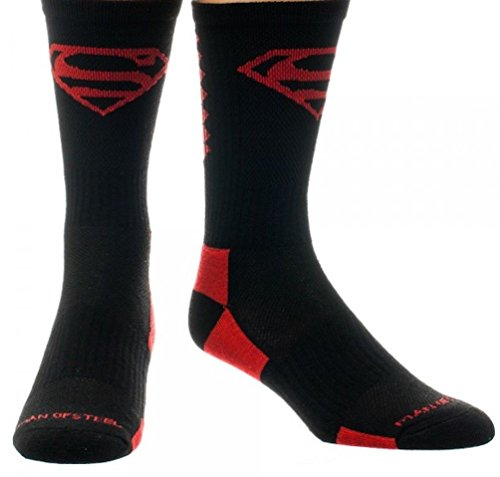 DC Comics Superman Red Black High Performance Active Costume Crew Socks