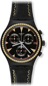 Swatch Men's Irony YCB4024 Black Leather Swiss Quartz Watch with Black Dial