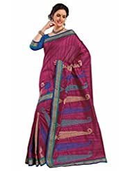 Aasri Women Raw Silk Purple Embroidered Saree With Blouse Piece