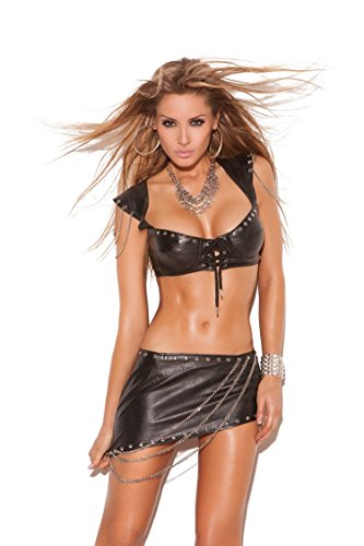 Leather bra top with underwire cups, lace up front, nail heads, cap sleeves with chain detail and adjustable hook and eye closure.