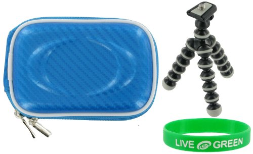 Hard Shell Carrying Case (Candy Blue) and Premium Tripod for Panasonic Lumix DMC-FH20A Digital Camera Blue