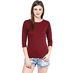 Hypernation Maroon Color Round Neck Cotton T-shirt For Women