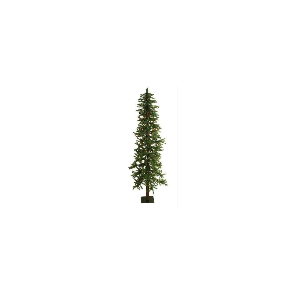 7 Pre Lit Natural Alpine Artificial Christmas Tree   Multi Lights