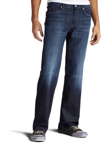 7 For All Mankind Mens Austyn Relaxed Straight Leg Jean in Los Angeles Dark Los Angeles Dark 36x34