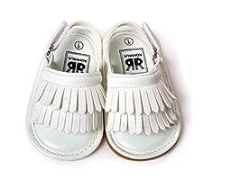 C&H 2016 Summer New Unisex Infant Baby Tassels Leather Soft Anti-Slip Prewalker Toddler Sandals (12cm(6-12months), White)