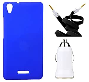 Toppings Hard Case Cover With Aux Cable & Car Charger For Lava iris X9 - Blue