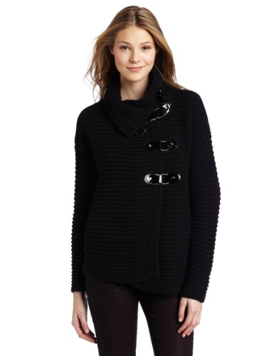 Tracy Reese Women's Funnel Neck Cardigan, Black, Petite