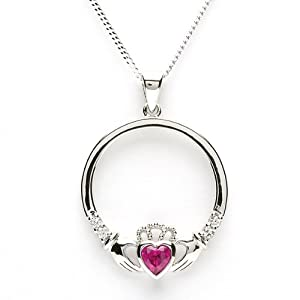 JULY Birthstone Silver Claddagh Pendant LS-SP91-7. Made in Ireland.