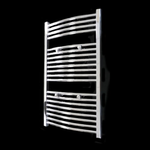 Novara Curved Chrome Heated Bathroom Towel Rail Radiator 970 x 550 mm