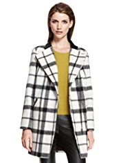 Autograph Checked Biker Coat with Wool