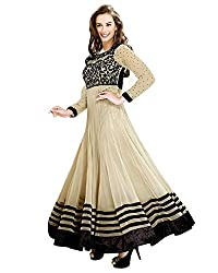 Banjara Womens Net Anarkali Dress Material (R_EvelynChiku4 _Beige _Free Size)