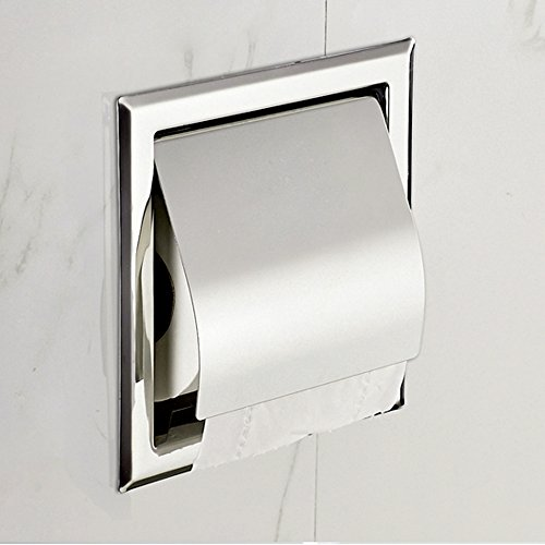 Recessed Paper Holder For Bathroom Storage Stainless Steel Polished Chrome Home Garden