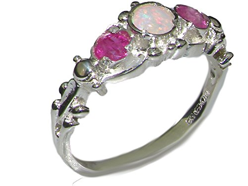 10ct-white-gold-natural-opal-and-ruby-womens-trilogy-ring-size-m-sizes-j-to-z-available
