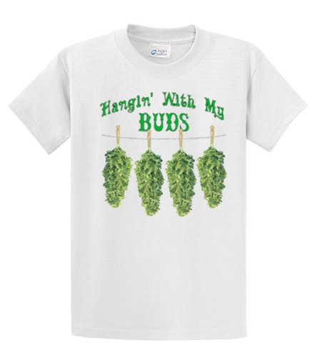 Marijuana-T-Shirt-Hangin-With-My-Buds-Roach-Clips