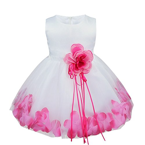 TIAOBU Baby Girls Flower Petals Tulle Formal Bridesmaid Wedding Party Dress Hot Pink 18-24 Months