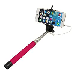 Casotec Wired Remote Shutter Extendable HandheldSelfieStick Monopod for IOS Android - Pink
