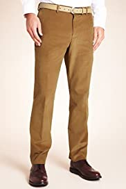 Limited Collection Cotton Rich Super Slim Fit Flat Front Corduroy Trousers [T18-8608-S]