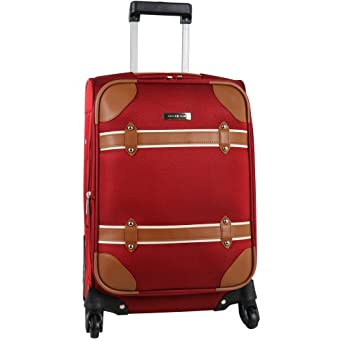 Anne Klein Luggage Vintage Edition 20 Inch Expandable Spinner, Red, One Size