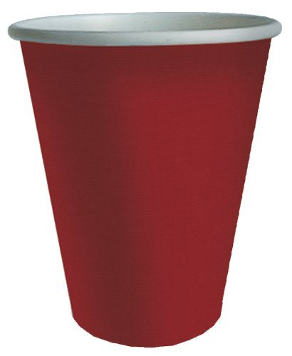 Red Cups Plastic Coated Insulated for Cold or Hot Use 9 Oz. Tumblers Pk 16