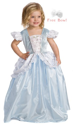 Little Adventures Cinderella Princess Dress Up Costume w/ Free Bow - Girls Size 3T,4T,5T - Machine Washable!