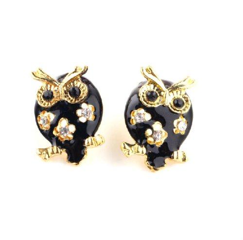 Vintage Retro Black Gold Cute Owl Crystal Stud Earrings Accessory J003