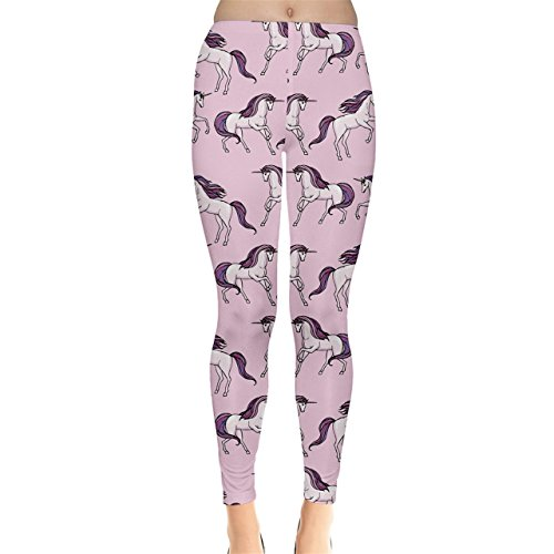 CowCow Purple Unicorn Seamless Women's Leggings, Purple-XL