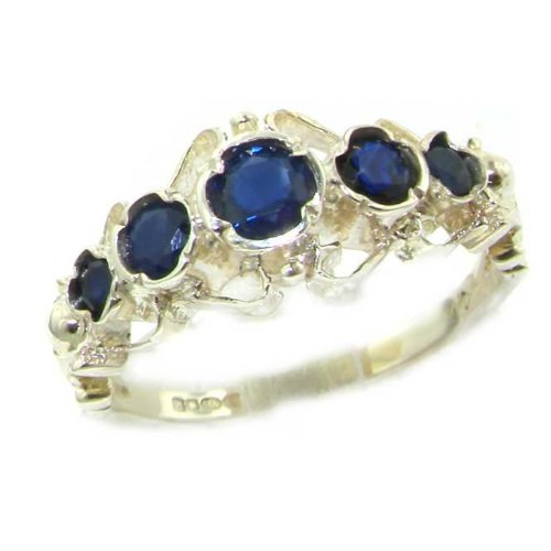 Solid White Gold Genuine Natural Sapphire Ring of English Georgian Design - Size 6.75 - Finger Sizes 5 to 12 Available