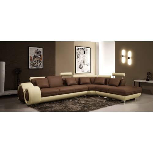4086 Modern Leather Sectional Sofa With