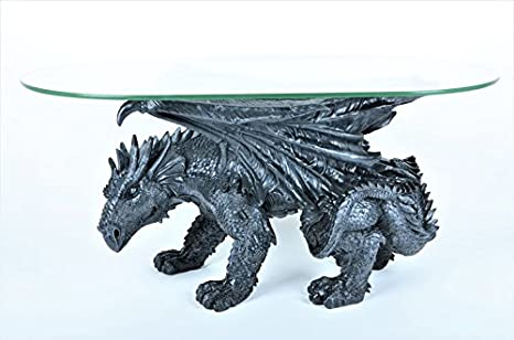 Drachen Tisch Couchtisch inkl. Glasplatte massiv *20 kg* *Sonderpreis* Drachentisch Dragon Figur