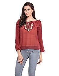 Brown Solid Georgette Embroidered Top X-Large