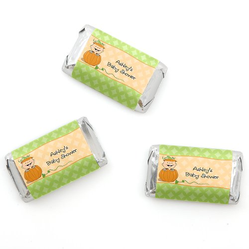 Little Pumpkin Caucasian - Personalized Baby Shower Mini Candy Bar Wrapper Favors - 20 Ct front-151199