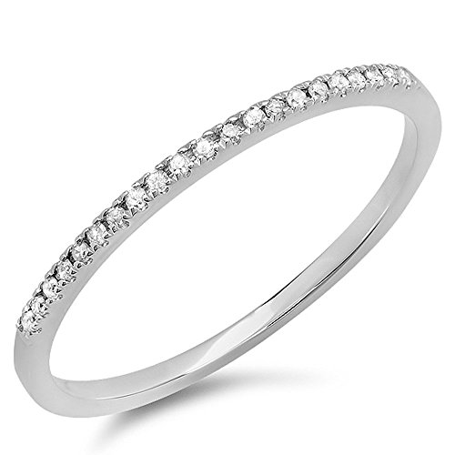 0.08 Carat (ctw) 10k White Gold Round White Diamond Ladies Dainty Anniversary Wedding Band Stackable Ring (Size 6.5)