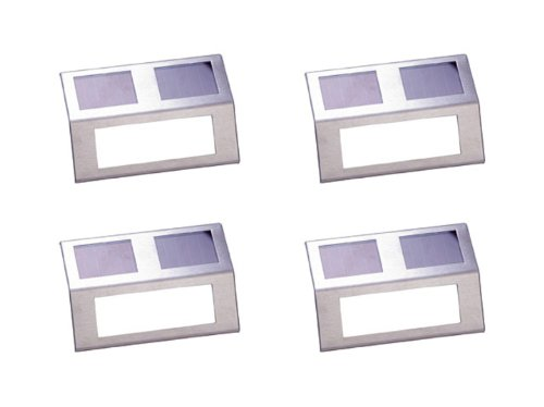 Stainless Steel Solar Powered Staircase Step And Wall Light With Amber Leds (4 Pack)
