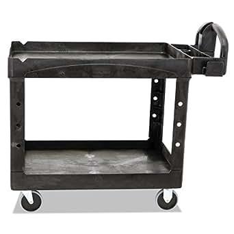 Rubbermaid Commercial Heavy-Duty 2 Shelf Utility Cart, Lipped Shelves, Medium, Black, 500 Pound Capacity (FG452088BLA)