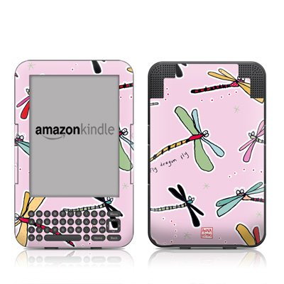 Dragon Fly Pink Design Protective Decal Skin Sticker for Amazon Kindle 3 (Latest Generation, 6 inch) E-Book Reader - High Gloss Coating