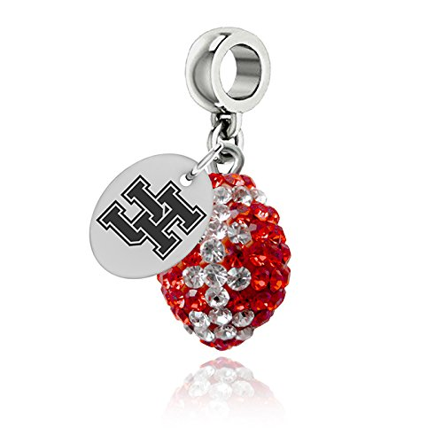 Houston Cougars Crystal Football Drop Charm Fits All European Style Bracelets