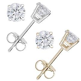 IGI Certified 1/4 CT to 1/2 CT Diamond Stud Earrings 14k Gold