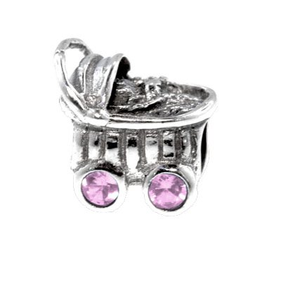 Sterling Silver Baby Carriage Charm Bead With Pink Color Cz , Fits Pandora Bracelet front-199580