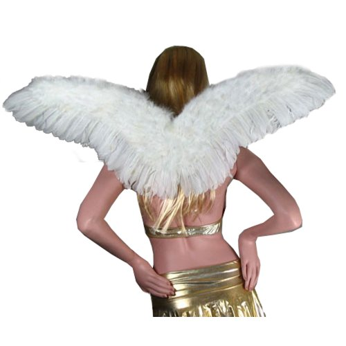 SACAS Large White Feather Angel Fairy Wings with Free Halo for Adult Men or Women