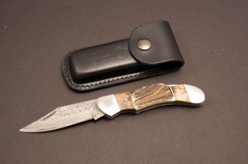 Izumi Ichiago - White Owl Folder - Japanese Damascus Steel , With Leather Case