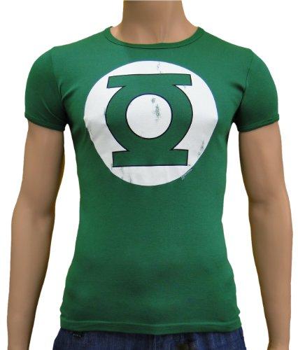Green Lantern Vintage Slimfit Logoshirt T-shirt XS-XXL, Unisex adulto Uomo Donna, Verde bottiglia, S