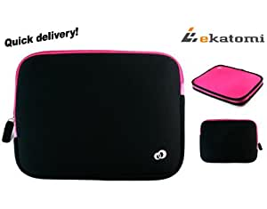 [Reveal] HOT PINK / MAGENTA & BLACK | Universal 10-inch Tablet Case / Reversible Sleeve for 10.1 Panasonic Toughbook CF-H2ASHKZ1M. Bonus Ekatomi Screen Cleaner