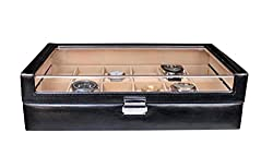 Essart PU Leather Designer Couple Watch Box for 12 Watches - Black