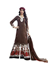 Coffee Colour Faux Cotton Party Wear Paisley Print & Patch Embroidery Plazo Suit (Jinaam) 9078A - B015EDBT1Q