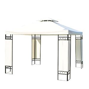 metall gartenpavillon pavillon partyzelt bierzelt gartenzelt 3x3 m creme neu. Black Bedroom Furniture Sets. Home Design Ideas