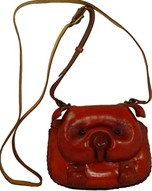 Pig Face Cover, Genuine Leather Shoulder Bag, Handmade, a Collectible Satchel