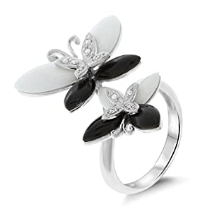 0.05CTW 14K White Gold Genuine Natural Black Onyx + Mother of pearl and Diamond Butterfly Ring Size 7