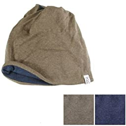 Casualbox mens Organic Neck Warmer Headband Beanie Outdoor Brown~Navy