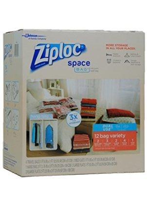 Ziploc Space Bag Dual Use 12 Bag Space Saver Set