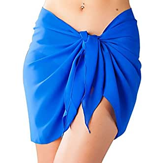 Short Swimsuit Royal Blue Sarong Cover Up with Built in Ties One Size